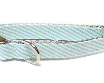 Blue and Green Seersucker Striped Dog Collar, preppy, metal hardware