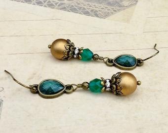Gold Earrings, Emerald Earrings, Green Earrings, Green and Gold Earrings, Czech Glass Beads, Brass Earrings, Long Green Earrings, Gifts