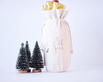 Tis the Season Wine Bag Hostess Gift Wine Bag Christmas Wine Bag Holiday Wine Tote Bag Personalized Wine Bag Thank You Gift Holiday Gift