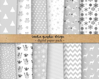 """Christmas digital paper: """"WHITE CHRISTMAS"""" with white digital paper, Christmas patterns, for Christmas cards, scrapbooking (1073)"""