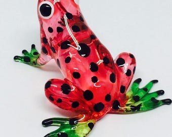 Figurine Animal Hand Blown Glass Amphibian Red Frog Home Decoration Free Ship