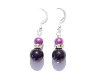 Black and purple pearl earrings, black pearl earrings, purple pearl earrings, pearl earrings, earrings, dangle earrings, drop earrings