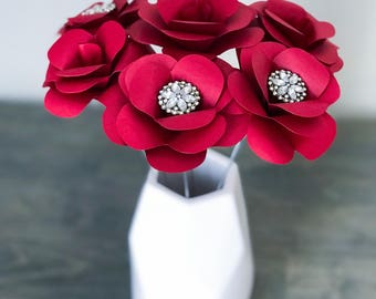 Paper Flowers - Red Roses - Anniversary Gift - Centerpieces - Valentines Gift - Gift Under 10 - Wedding Flowers - Baby Shower - Rhinestones