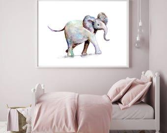 Baby elephant art - elephant Watercolor painting - Giclee Print - Nursery Animal Painting - elephant illustration baby elephant watercolor