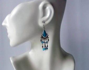 Pair of Peruvian Semiprecious Stone Earrings. Turquoise. Handmade