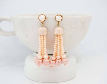 Blush Pink and Gold Beaded Tassel Post Earrings