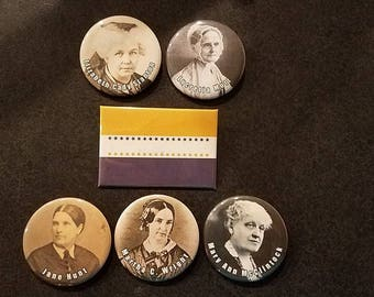Suffragette set of 6 buttons or magnets!