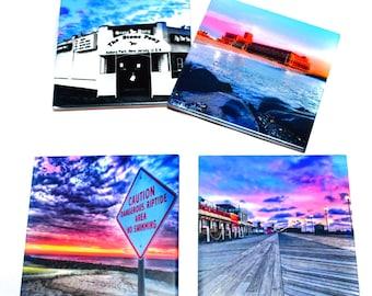 Asbury Park Coaster Set of 4 / The Stone Pony, Convention Hall, Asbury Park Boardwalk, Asbury Park Beach / Jersey Shore Gift