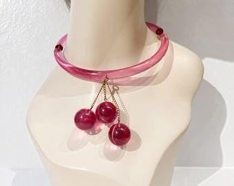 Vintage 80s Judith Hendler acrylic ball drop necklace