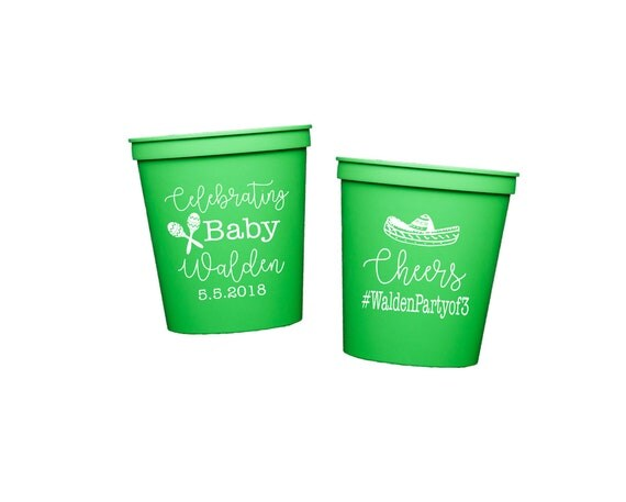 fiesta shower, fiesta cups, fiesta party cups, fiesta baby shower, cinco de mayo shower, baby shower party favor, personalized plastic cups