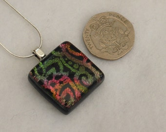 Dichroic glass pendant, Art glass, Fused glass jewellery, Rainbow jewellery,  gifts for her, fused glass pendant, glass necklace, sparkles