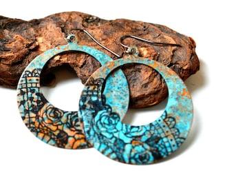 Patina copper earrings, hoop earrings, artisan earrings, blue patina, rustic earrings, copper earrings, modern earrings, boho style, floral