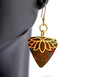 Gold Lotus earrings, Patina Earrings, Flower Earrings, Verdigris Earrings, yoga earrings, lotus flower, gold lotus, ethnic earrings