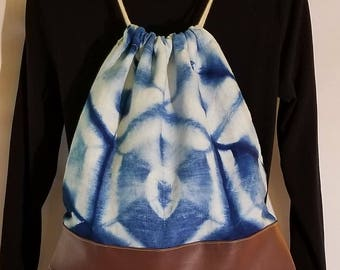 Hand Dyed Indigo, Shibori, Linen and Faux Leather Drawstring Backpack, Boho Chic, Bohemian