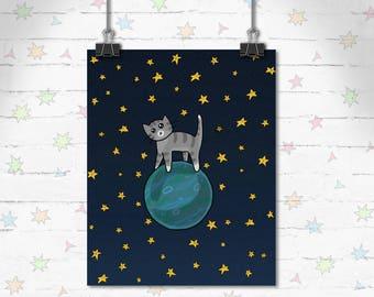 Space Cat Art, Funny Cats, Children's Decor, Kids Room, Cute Art, Kitty art, Decor, Art Print, Giclee Print, Archival Print