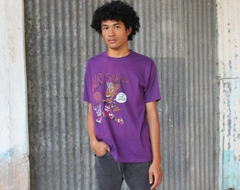 90s Air Sampson Black Bert Tshirt, Bootleg Bart Tee, Black Bart Tshirt, 90s Purple Tshirt, It's The Shoes, size Large XL