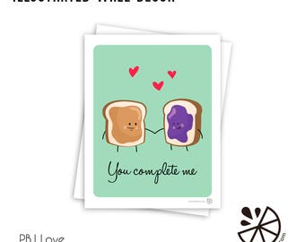 Cute Peanut Butter and Jelly Love Print Room Decor
