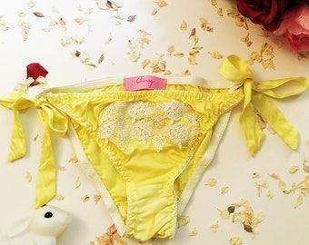 Joan Yellow Silk Tie Side Lingerie Panties