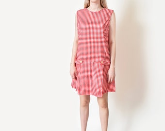 1960s Red Gingham Romper Dress 60s Vintage Scooter Dress M L