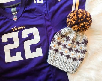 "Minnesota Vikings ""Harlequin"" Knit Winter Hat + GIANT Pom Pom / Beanie / Football / MN / SKOL / Purple Gold Marble Gray"