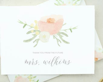 Personalized Future Mrs. Personalized Wedding Shower Thank You Cards. Floral Wedding Shower Thank You. Bridal Shower Gift Bridal Thank MRS04