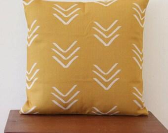 "Yellow Pillow Cover, Mudcloth Arrow Cushion, 18""x 18"" Decorative Pillow, Tribal Cushion, Arrow Cushion Minimalist Cushion 378"