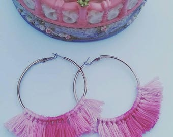 "Delicious ""cotton candy"" earrings. pinkalious tassels and gold hoops"
