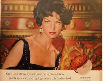 1958 Revlon Love Pat Make Up Vintage Advertisement Bathroom Wall Art Beauty Salon Decor Original Magazine Print Ad Make Up Cosmetics Ad