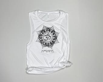Namaste Lotus Flower, Namaste, Namastay, Namaste in bed, Namastay in bed, Namaste Tank, Mandala tank, Yoga Clothes, Yoga Shirt, Yoga Tank