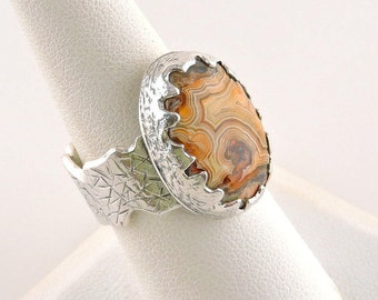 Size 8 Sterling Silver And Agate Ring