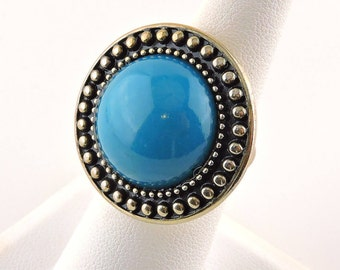 Size 6 Gold Tone And Teal Blue Glass  Round Ring