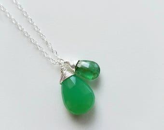 Emerald Necklace, Chrysoprase Necklace, Sterling Silver Chrysoprase Pendant, Chrysoprase Jewelry, Sterling Silver Necklace, Genuine Emerald