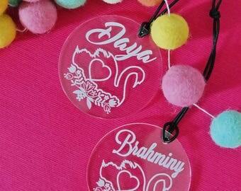 Bag Tags. Acrylic bag tags for boys and girls