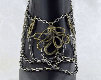 Steampunk Boot Chain | Wrath of Cthulhu | Octopus Boot Jewelry, Octopus Jewelry, Steampunk Octopus, Statement Boot Jewelry, for her