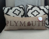 "Plymouth Michigan 21.5"" x 8"" Stuffed Burlap Pillow - great lakes - accent cushion - upcycled coffee sack - detroit - farmhouse - rustic"
