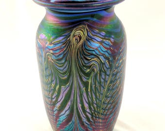 Art glass vase, iridescent peacock feathers design, rich colors, 8 1/2 inches high