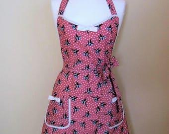 Apron/ Swallows Apron /Retro Apron / Womens Apron / Vintage Style Apron/ Retro Bird Apron / Handmade Apron / Pink Apron