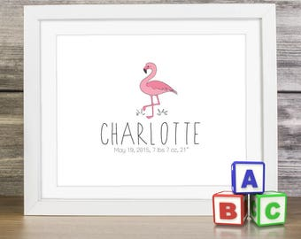 """CUSTOMIZED Kids Room or Nursery Room Decor, 8x10"""" or 5x7"""", BIRTH Stats & NAME included for poster personlization. Clean modern design."""