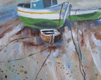 original fishing boat art, boat painting, nautical art, boat art, acrylic on canvas, coastal scene, fishing boat, fisherman, wall hanging