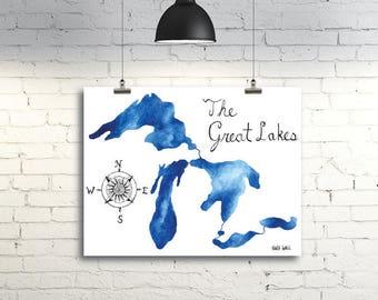 Great Lakes Watercolor