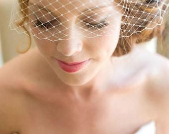 "Full Birdcage Veil, 9"" Bandeau Veil, Birdcage Veil, Wedding Veil, Bridal Veil, Russian Veil,Short Bird Cage Veil"