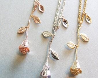 Rose Flower Necklace , Rose Monogram Necklace , Rose Initial Necklace , Flower Necklace