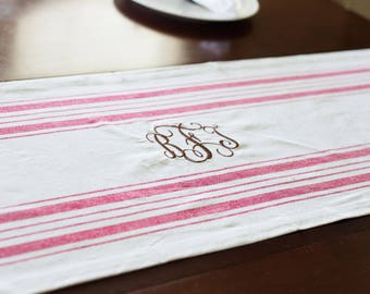 Monogrammed Table Runner | Farmhouse Style Table Runner | Farmhouse Decor | Custom Table Runner | Housewarming Gift | Personalized Gift