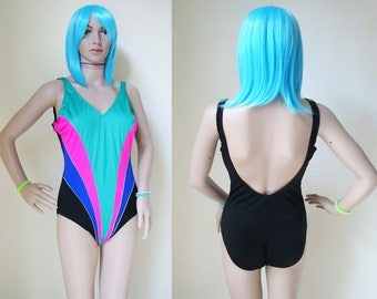 80s ONE PIECE swimsuit -shiny, fuchsia, blue, turquoise, beach, summer, festival, 90s, hipster, indie, cyber wave, club kid-