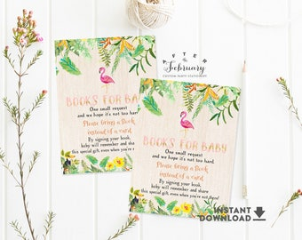 Books for Baby Insert Book Request Card Girl Flamingo Tropical Baby Shower Insert Printable  (Instant Download) No.420GIRL
