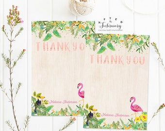 Personalized Thank You Flat Card Summer Flamingo Tropical Baby Shower Girl Printable No.420GIRL