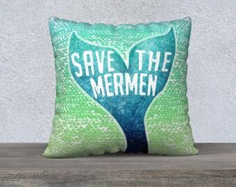 mermaid pillow, mermaid gifts, pillowcase, ocean, merman for men, for her, ocean decor, mermaid gift, mermaid theme room, save the mermaids,