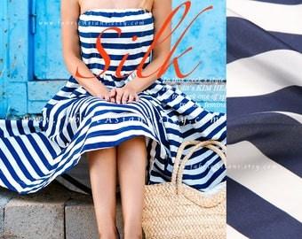Crepe de Chine Silk Blue White Nautical Fabric