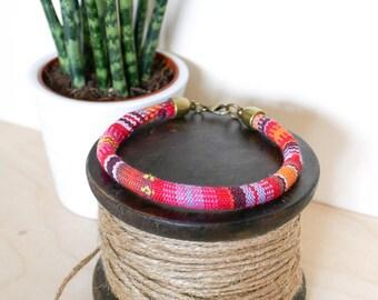 Red Baja Bangle; travel, wanderlust, gift her him, summer, july, august, tribal, aztec, orange, pink, festival, bracelet, surf, friendship
