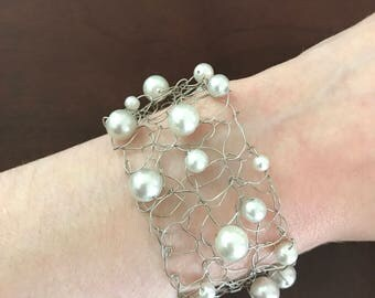 Ready To Ship, Hand Knitted Wire, Pearl Bracelet, Bridal Jewelry, Anniversary Gift, Gift For Her